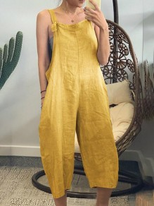 Yellow Patchwork Shoulder Strap Overall Pants Oversized Fashion Jumpsuits