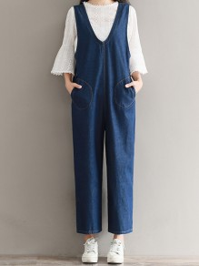 Dark Blue Patchwork Pockets V-neck Overall Pants Denim Long Jumpsuit