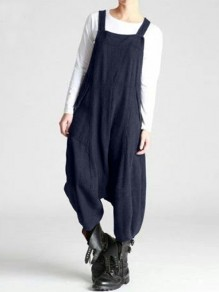 Dark Blue Patchwork Draped Streetwear Overall Pants Fashion Long Jumpsuit