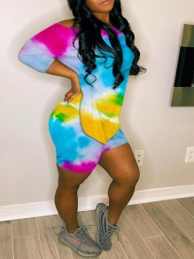 Yellow-Blue Cross Back Irregular 3/4 Sleeve Backless Tie Dye Two Piece Casual Short Jumpsuit