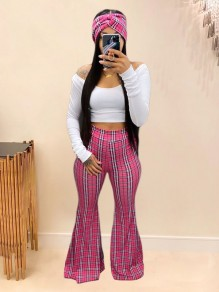 Pink Plaid Off Shoulder Two Piece Party High Waisted Bell Bottomed Flares Long Jumpsuit