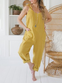 Yellow Patchwork Pockets Sleeveless Overall Pants Loose Fashion Jumpsuits