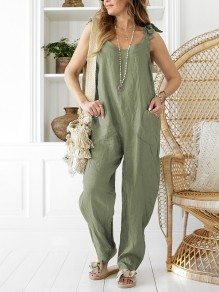 Green Pockets Sleeveless Cotton Overall Pants Loose Casual Jumpsuits