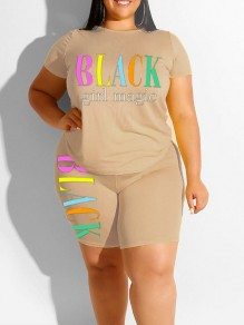 "Apricot ""BLACK GIRL MAGIE"" Print Two Piece Plus Size Bodycon Casual High Waisted Short Jumpsuit"