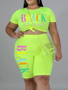 "Green ""BLACK GIRL MAGIE"" Print Two Piece Plus Size Bodycon Casual High Waisted Short Jumpsuit"