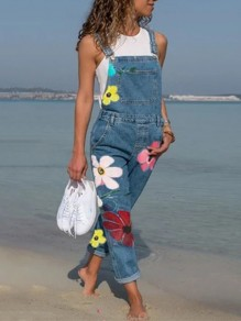 Blue Flowers Pockets Fashion Overall Pants Long Denim Jumpsuit