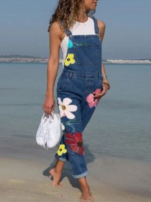 Dark Blue Flowers Pockets Fashion Overall Pants Long Denim Jumpsuit