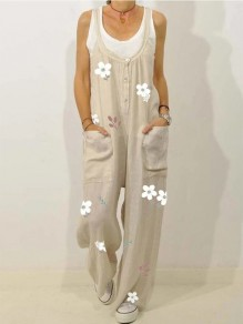 Beige Flowers Buttons Pockets Overall Pants Casual Fashion Jumpsuits