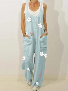 Light Blue Flowers Buttons Pockets Overall Pants Casual Fashion Jumpsuits