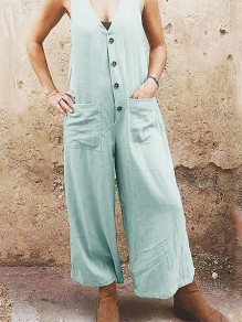 Light Blue Patchwork Pockets Single Breasted Fashion Overall Pants Long Jumpsuit