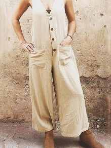 Beige Patchwork Pockets Single Breasted Fashion Overall Pants Long Jumpsuit