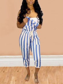 Blue-White Striped Drawstring Plus Size Cute Overall Nine's Jumpsuit