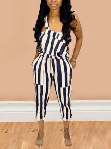Dark Blue Striped Drawstring Plus Size Cute Overall Nine's Jumpsuit