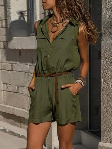 Army Green Patchwork Pockets Zipper V-neck Sleeveless Fashion Short Jumpsuit