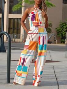 White Geometric Pattern Pockets Halter Neck Bohemian Wide Leg Palazzo Long Jumpsuit