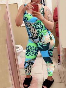 Green Rainbow Leopard Print Bodycon Casual Sports High Waisted Long Jumpsuit