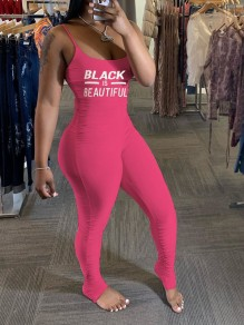 "Pink ""Black Beautiful"" Print Spaghetti Strap Casual Sports Bodycon High Waisted Long Jumpsuit"