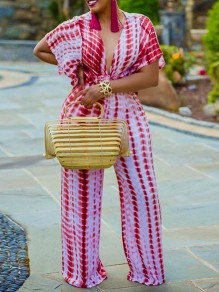 Red Tie Dyeing V-neck Belt Casual Bohemian Beach High Waisted Long Wide Leg Palazzo Jumpsuit