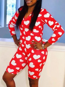 Red Love Print Buttons V-neck Long Sleeve Plus Size Bodycon Casual Sports High Waisted Short Jumpsuit
