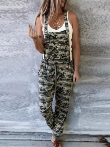Army Green Camouflage Pockets Drawstring Waist Fashion Long Jumpsuit