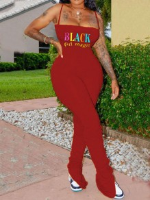 "Red ""BLACK GIRL MAGIC"" Print Spaghetti Strap Pleated Casual Sports Scrunch Bell Bottomed Flares High Waisted Long Jumpsuit"
