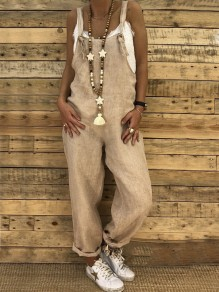 Khaki Strap High Waisted Oversize Long Jumpsuit Overall Pants