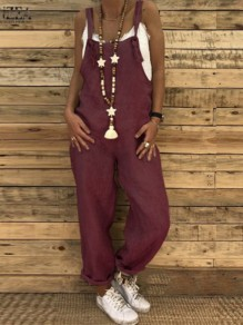 Burgundy Strap High Waisted Oversize Long Jumpsuit Overall Pants