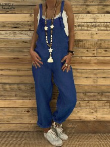 Dark Blue Strap High Waisted Oversize Long Jumpsuit Overall Pants