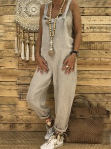 Grey Strap High Waisted Oversize Long Jumpsuit Overall Pants