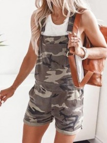 Grey Camouflage Pattern Pockets Overall Pants Fashion Short Jumpsuit