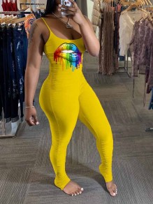 Yellow Rainbow Lips Print Pleated Spaghetti Strap Bodycon Scrunch Casual Sports Long Jumpsuit