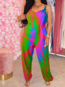 Green Tie Dyeing Rainbow Spaghetti Strap Harem Bohemian Beach Party Long Jumpsuit