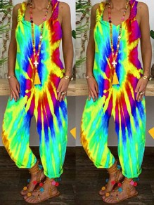 Light Blue Tie Dyeing Rainbow Spaghetti Strap Harem Bohemian Beach Party Long Jumpsuit