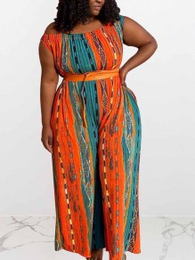 Orange-Blue Striped Tribal Print Plus Size Party High Waisted Wide Leg Palazzo Long Jumpsuit