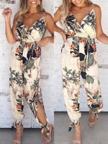 Beige Flowers Pattern Drawstring Waist V-neck Sleeveless Long Jumpsuit