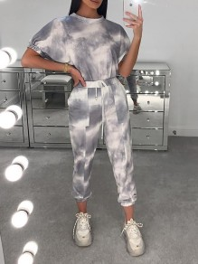 Grey Tie Dyeing Drawstring Two Piece Casual Sports Long Jumpsuit