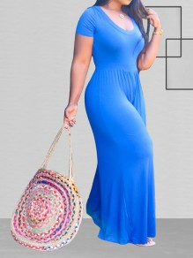 Blue Round Neck Long Sleeve Plus Size Casual Bohemian Beach High Waisted Wide Leg Palazzo Long Jumpsuit