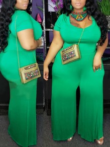 Green Round Neck Long Sleeve Plus Size Casual Bohemian Beach High Waisted Wide Leg Palazzo Long Jumpsuit
