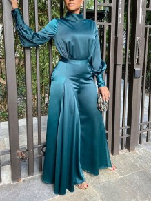 Blue Pleated Two Piece Elegant Party High Waisted Wide Leg Palazzo Long Jumpsuit