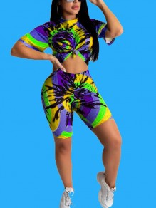Yellow Tie Dyeing Two Piece Bohemian Beach Casual Sports Short Jumpsuit