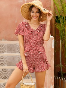 Red Floral Ruffle Short Sleeve High Waisted Cute Short Jumpsuit