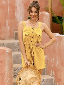 Yellow Buttons Pockets Drawstring High Waisted Cute Short Jumpsuit