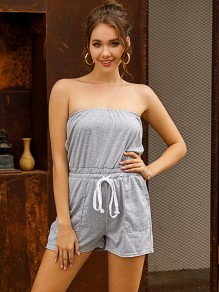 Light Grey Drawstring Pockets Bandeau Cute Short Jumpsuit