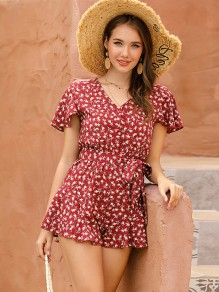 Red Floral Sashes V-neck Short Sleeve Cute Short Jumpsuit