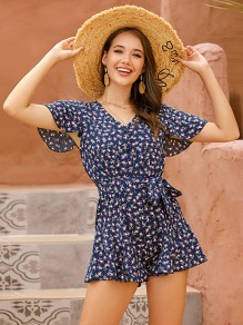 Blue Floral Sashes V-neck Short Sleeve Cute Short Jumpsuit