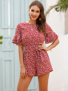 Red Floral Ruffle Buttons Round Neck Short Sleeve Cute Short Jumpsuit