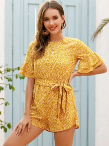 Yellow Floral Ruffle Buttons Round Neck Short Sleeve Cute Short Jumpsuit