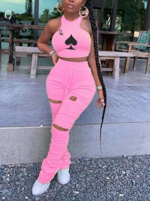Pink Playing Cards Print Halter Neck Cut Out Distressed Ripped Pleated Drawstring Two Piece Casual Sports Stacked Scrunch Long Jumpsuit