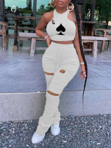 Apricot Playing Cards Print Halter Neck Cut Out Distressed Ripped Pleated Drawstring Two Piece Casual Sports Stacked Scrunch Long Jumpsuit