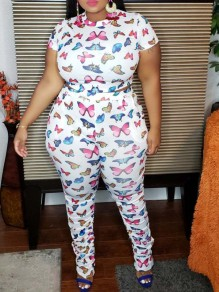 White Butterfly Print Pleated Two Piece Plus Size Bodycon Casual Sports Stacked Scrunch High Waisted Long Jumpsuit